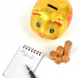 Piggy bank and notepad — Stock Photo #8837292