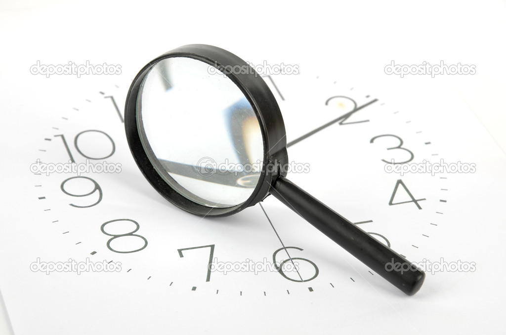 Clock face and magnifier on white background — Stock Photo #8873806