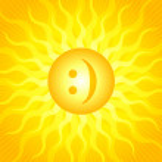 Emoticon sun — Stock Vector