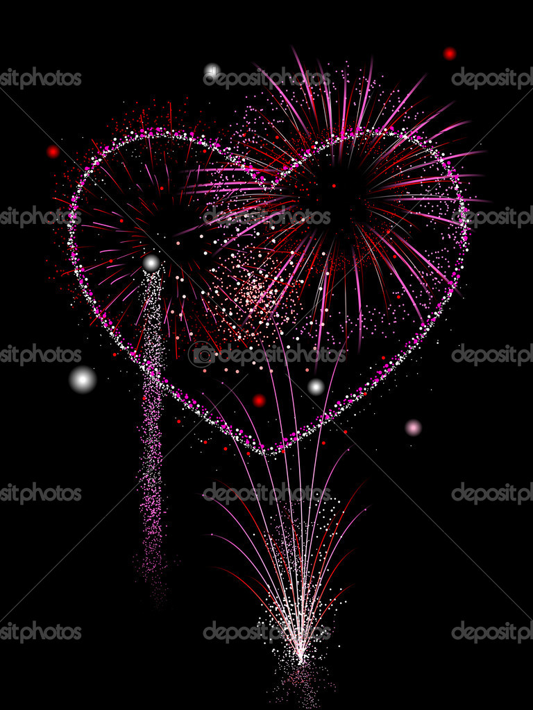Valentine's Day Fireworks in pink and red — Stock Vector #8311992