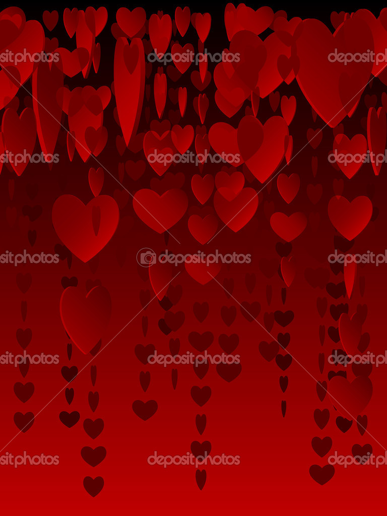 Background pattern of hanging, red translucent hearts   Stock Vector #8351712