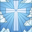 Stained glass cross - Stockvectorbeeld