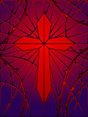 Stained glass cross — Vecteur