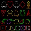 Royalty-Free Stock Vector Image: Neon gambling symbols