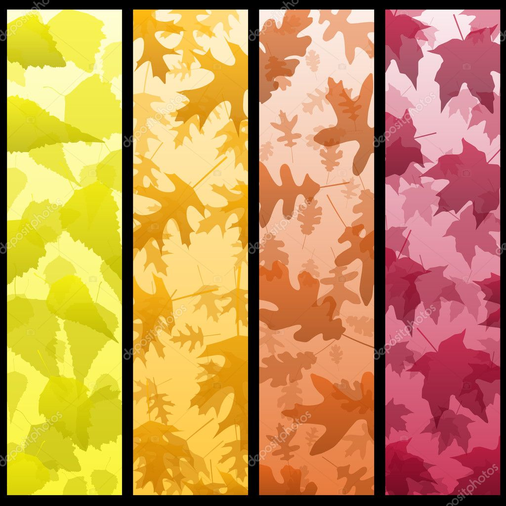 Birch oak and maple banners in autumn colors — Stock Vector #8880953