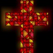 Stained glass cross — Stock Vector
