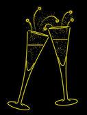 Neon champagne — Stock Vector