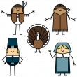 Thanksgiving characters — Vector de stock
