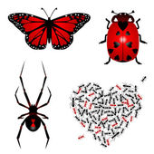 Set of lovebugs — Vector de stock