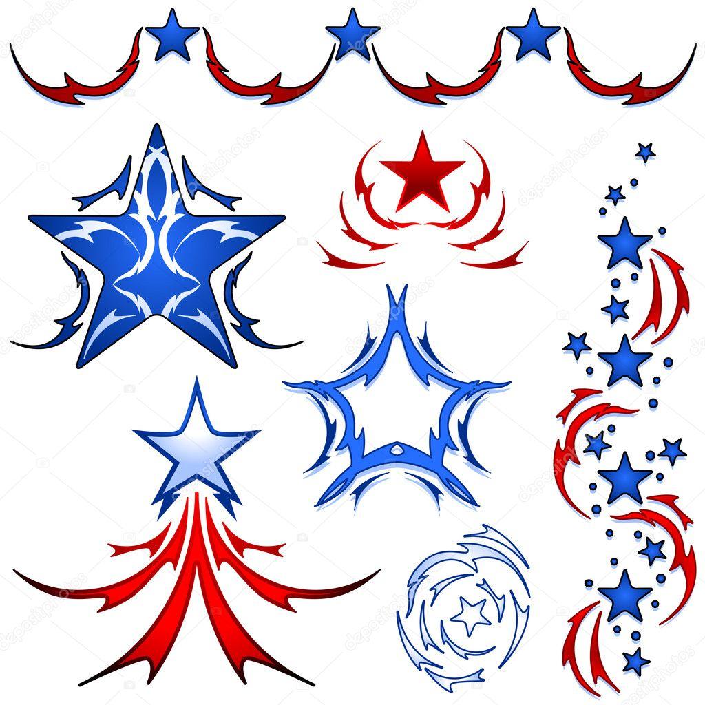star and stripe tattoos stock vector bigldesign 9308838. Black Bedroom Furniture Sets. Home Design Ideas