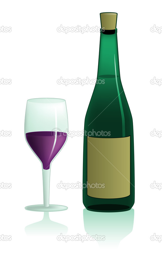 Illustration of an isolated wine glass and bottle  Stock Vector #9325622
