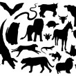 Stock Vector: Land animal silhouettes