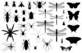 Insect silhouettes — Stock Vector