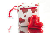 Valentines gift bag with heart — Stock Photo