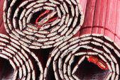 Tre ringlar bambu mattor — Stockfoto
