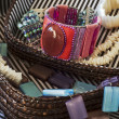 Costume jewelry in basket — Stock Photo
