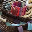 Costume jewelry in basket — Stock Photo
