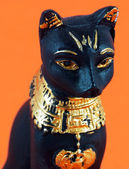 Detail of black egyptian cat — Stock Photo