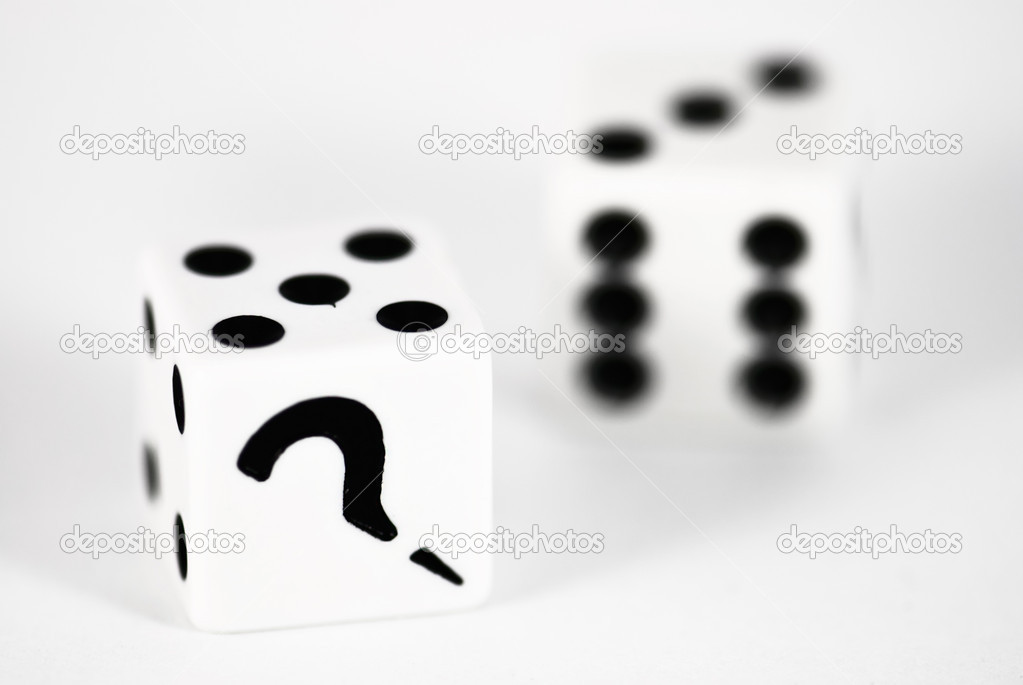 Two dice with question mark  Stock Photo #8815606