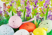 Easter eggs with lavender background — Stock Photo