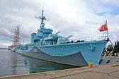 Ship, sea, Błyskawica — Stock Photo