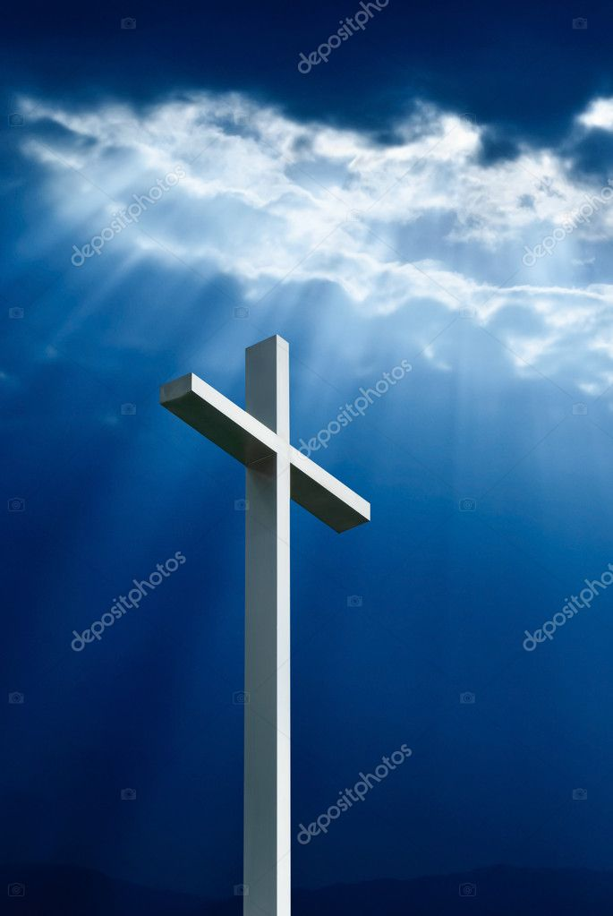 Dramatic deep blue Jesus light shining down on cross  — Stock Photo #8331292