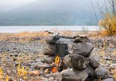 Fire on stones — Stock Photo