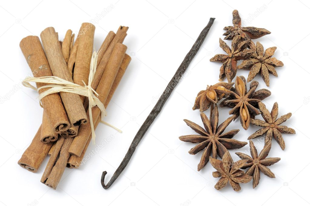 Cinnamon, anise stars and vanilla, on white background — Stock Photo #10724967