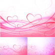 Paintings of hearts — Stock Vector