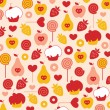 Royalty-Free Stock Vector Image: Seamless pattern: fruit and cake