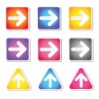 Arrows moving in the right side and upwards — Stock Vector