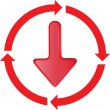 Royalty-Free Stock Vector Image: Red arrow to move down in the circle