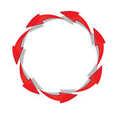 Red arrows moving in a circle — Stock Vector