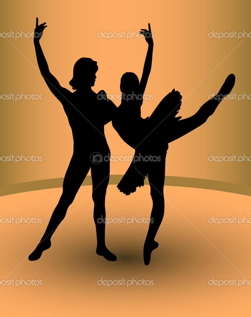 Couple dancers, vector — Stock Vector #9778640