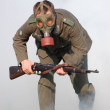 Stock Photo: Germsoldier in gas mask .