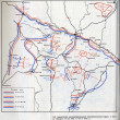 Soviet military history map. WWII battle - ストック写真