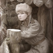 Soviet girl of 1940-th — Stock Photo