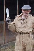 Jardinero con machete — Foto de Stock