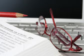 Laptop book and glases — Stock Photo