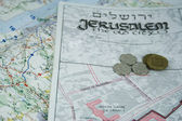 Jerusalem map and coins — Stock Photo