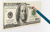 Erasing hundred dollar — Stock Photo