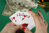 Poker and drinks — Stock Photo