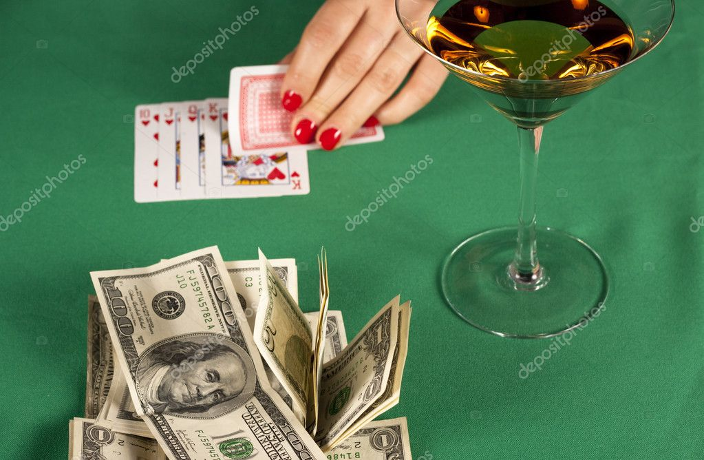 Poker cards on green table with dollars — Stock Photo #8395710