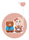 少女とクマ — ストックベクタ