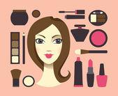 Frau und kosmetik — Stockvektor