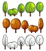 Alberi nelle stagioni — Vettoriale Stock