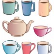 Cups and Teapot — Stock Vector