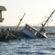 Stock Photo: Crashed Passanger ferry sinking in ship