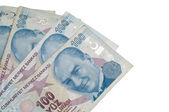 Turkish banknotes on the isolated white backgrounds — Stock Photo