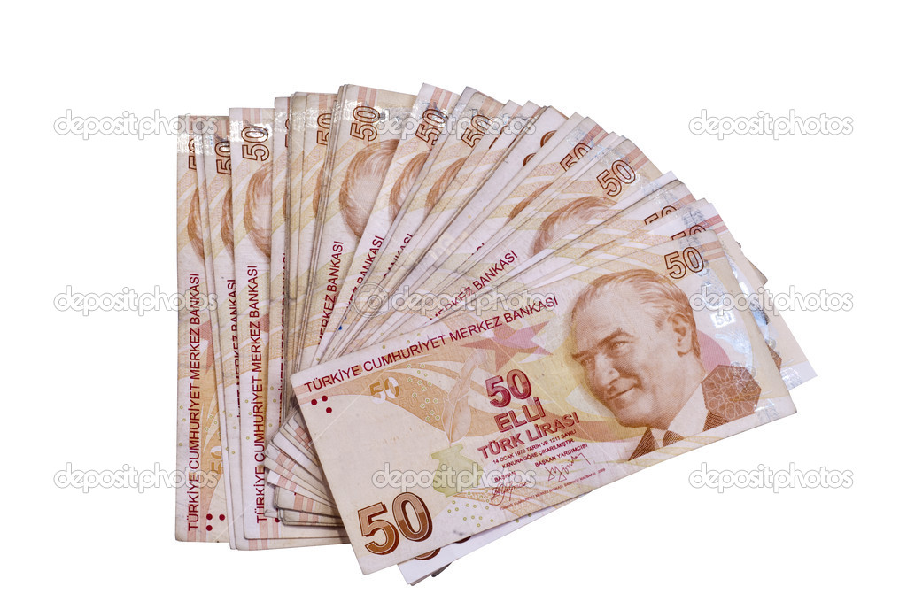 Fifthy,Hundred liras Turkish banknotes on the isolated white backgrounds — Stock Photo #9066827